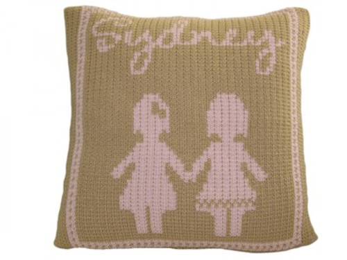 "Personalized Baby Doll Throw Pillow - Knitted Acrylic Wool 15"" x 15"" (shown Sand/Pale Pink Accent)"