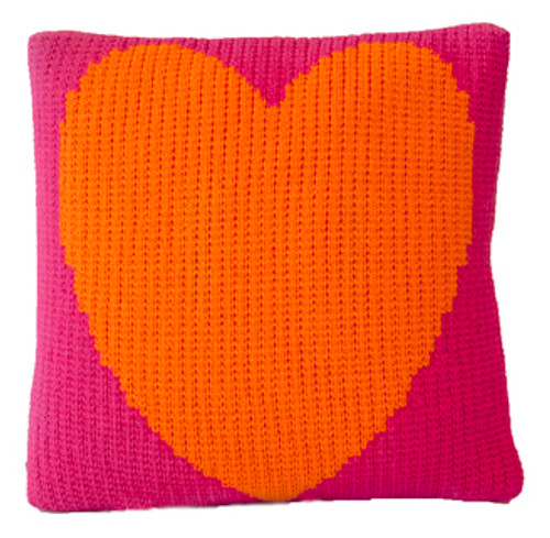 "Heart Throw Pillow -Knitted Acrylic Wool 15"" x 15"" (shown Fuschia/Accent Neon Orange)"