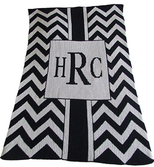 Monogram Chevron & Box Blanket -Cashmere or Acrylic -Base Color Bleached White/ Accent (Text) Navy.