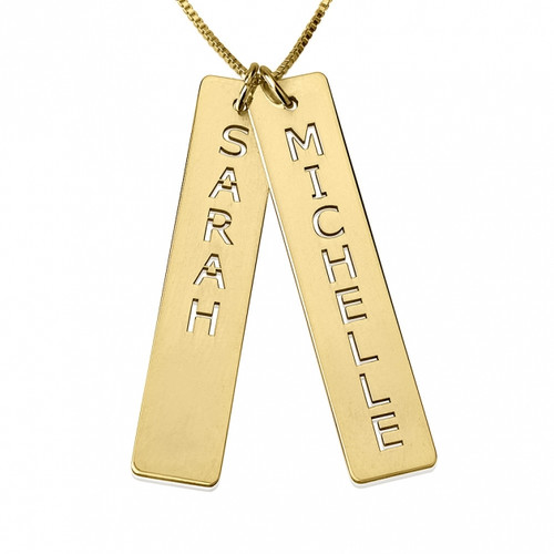 Personalized 24K Gold Plated Vertical Bar Necklace