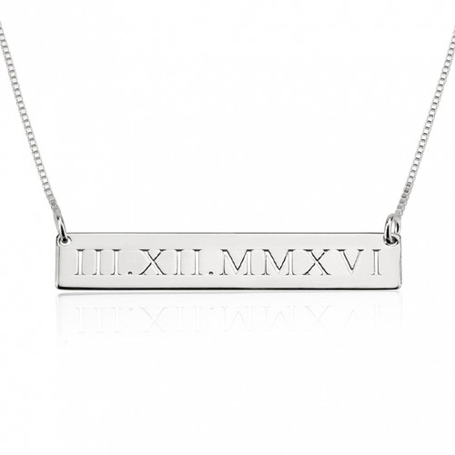 Personalized Cut Out Roman Numeral Bar Necklace - Sterling Silver
