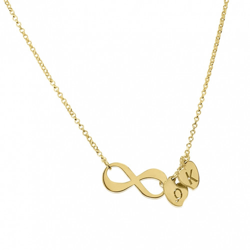 24K Gold Plated Personalized Infinity Necklace with Initials