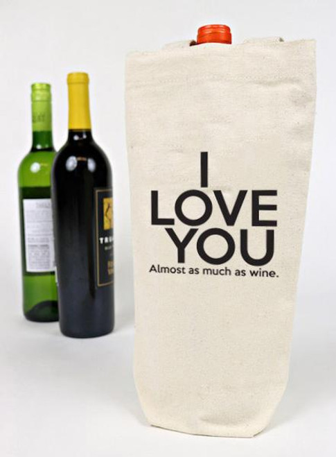 I Love You Almost As Much As Wine Canvas Wine Tote