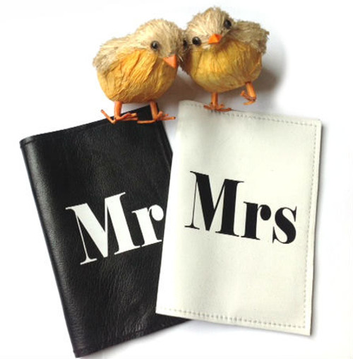 Mr & Mrs Personalized Passport Cover Set,