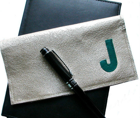 Berri Leather Personalized Checkbook Holder with Initial