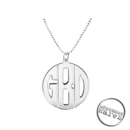 UW Sterling Silver Personalized Monogram Circle Necklace