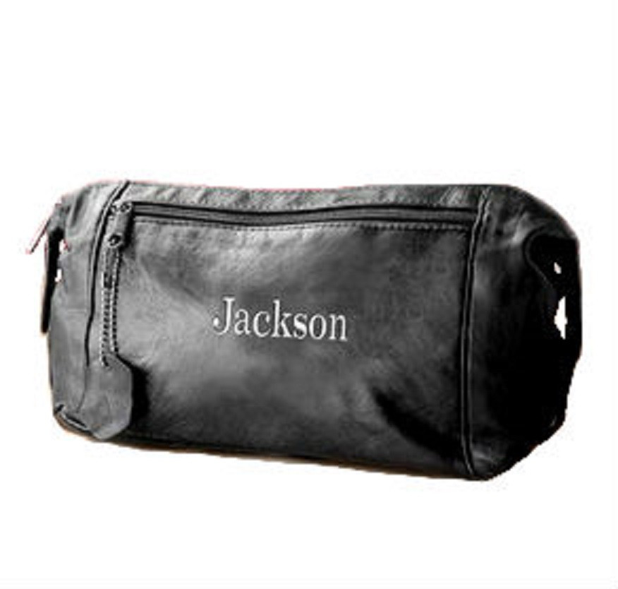 Men's Personalized Leather Dopp Kit, Toiletry Bag & Trave Kit