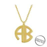 UW Gold Plated Sterling Silver Personalized Monogram Circle Necklace