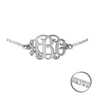 Sterling Silver Script Initial or Monogram Bracelet - UW
