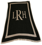 Classic Monogram Blanket - Chocolate Base Color &  Bleach White Monogram/Accent, Antique Roman Font