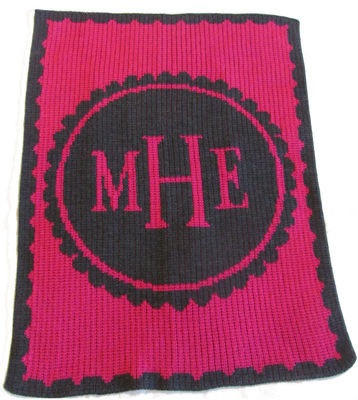 Personalized Scalloped Monogram Blanket Cashmere or Acrylic - Base Color Fuchsia, Accent Color: Charcoal Grey, Monogram Fuchsia