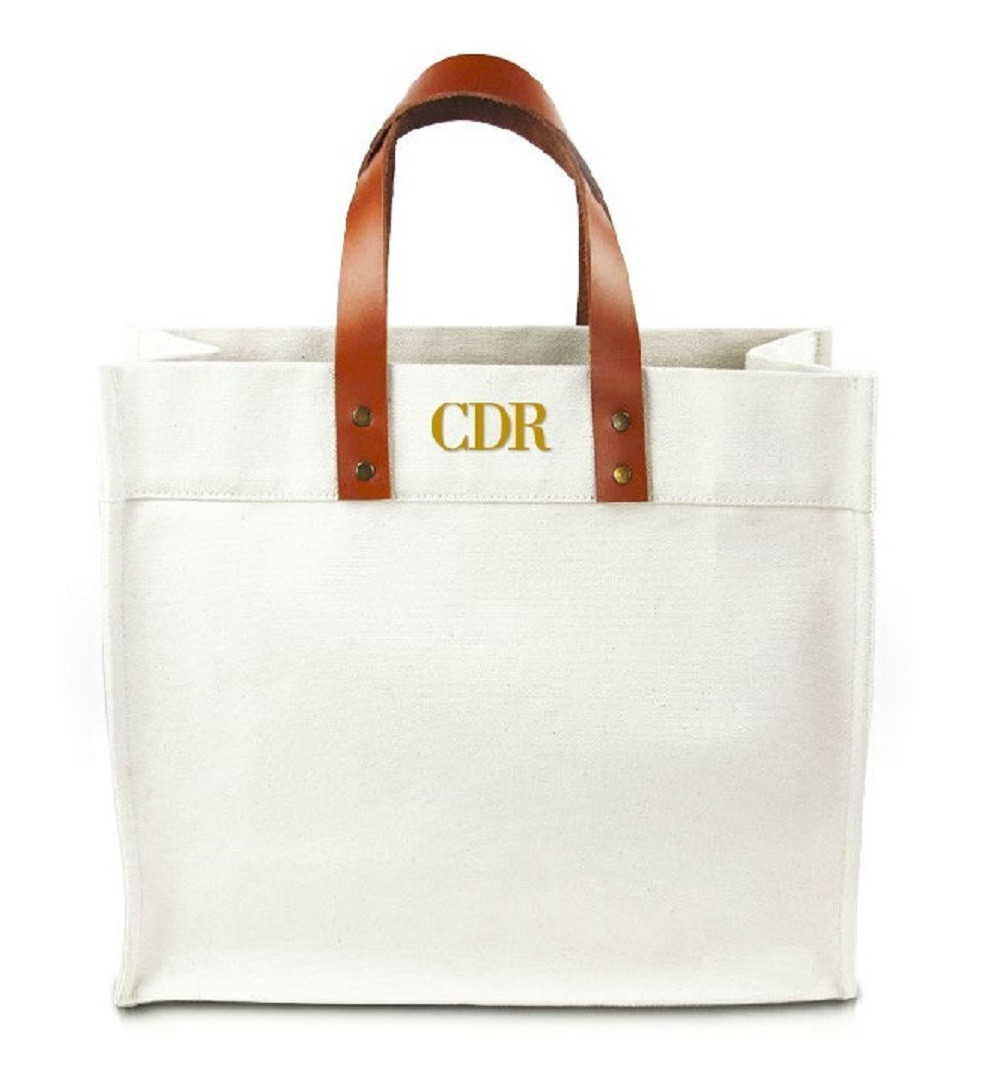Fulham Personalized Monogram Canvas Tote w/ Leather Straps BodiniXT Font
