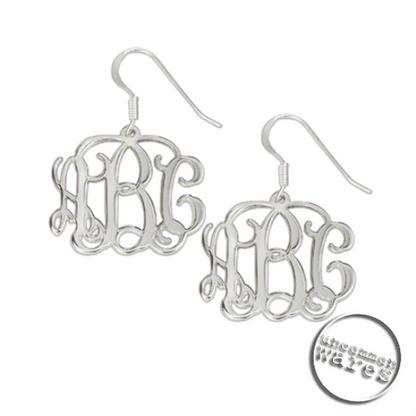 Sterling Silver Script Monogram Earrings