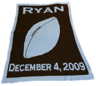Personalized Name & Bday Football Blanket -Cashmere or Acrylic Chocolate/Accent Light Blue, Copperplate Font.