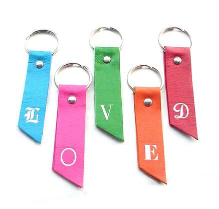 Pela Monogram Initial Leather Key Chain & Key Fob