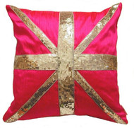 Hot Pink Silk Shantung & Sequin Union Jack Cushion & Throw Pillow