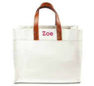 Fulham Personalized  Canvas Tote w/ Leather Straps - Gungsah Font