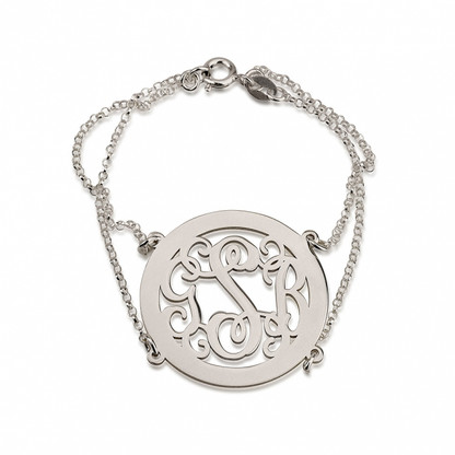 Sterling Silver Framed Curly Monogram Bracelet with Double Chain