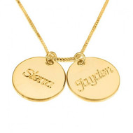 Two Circle Discs Personalized Necklace with Names - 24K Gold Plated