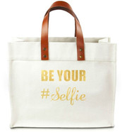 Be Your Selfie Canvas Tote Bag w/ Leather Straps - Gold