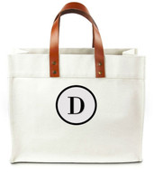 Chelsea Personalized Canvas Tote w/ Leather Straps - Bodini XT Circle