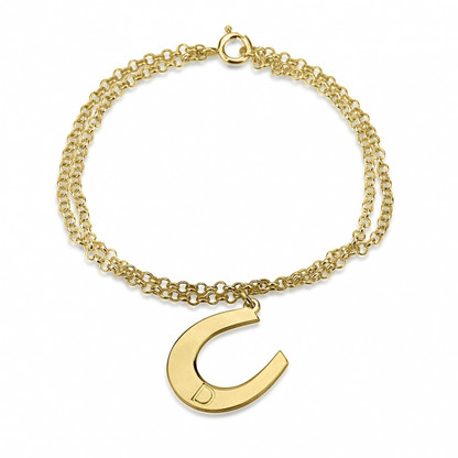 24k Gold Plated Personalized Initial Horseshoe Bracelet
