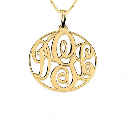 24k Gold Plated Medium Circle Monogram Necklace with Frame