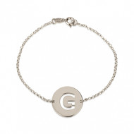 Sterling Silver Personalized Cut Out Initial Disc Bracelet