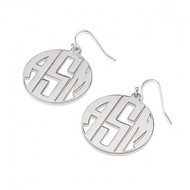 Sterling Silver 3 Capital Letters Monogram Earrings with Border