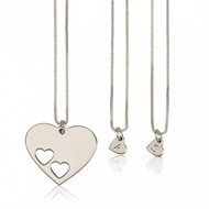 Floating Hearts Personalized Initial Necklaces Set- Sterling Silver