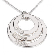 Personalized Three Ring Engraved Circle Necklace - Sterling Silver