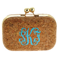 Kylie Monogrammed Cork Clutch
