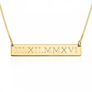 Personalized Cut Out Roman Numeral Bar Necklace - 24K Gold Plated