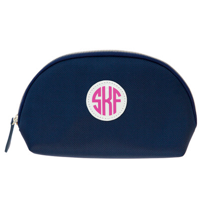 Trucco Monogrammed Nylon Make Up Bag - Navy