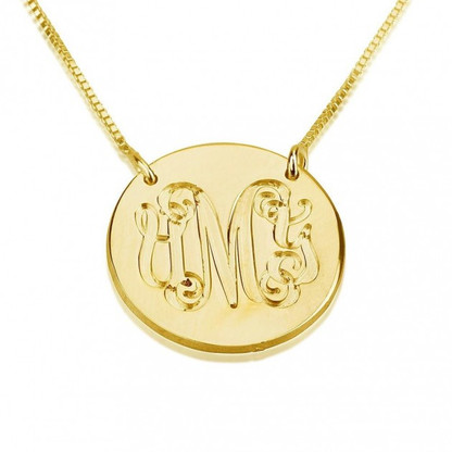 Monogram Medallion Pendant Necklace - 24K Gold Plated