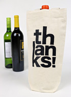Stacked Thanks Canvas Wine Tote
