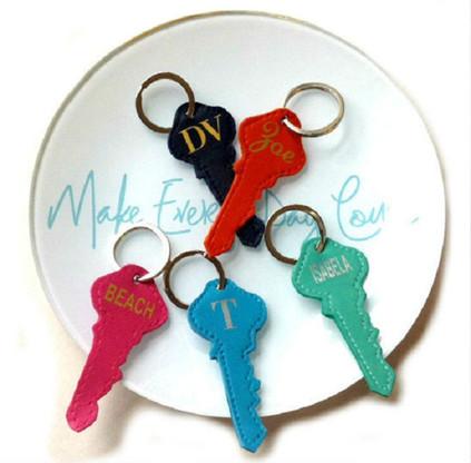 Chloe Personalized Leather Key Shaped Key Chain & Key Ring