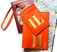 Mia Personalized Initial Leather Passport Cover & Sasha Personalized Initial Luggage Tag, Customized Passport and Luggage Tag Set. Personalized Passport Cover & Luggage Tag Set