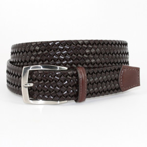 Torino Belts Italian Woven Stretch Leather Belt in Brown