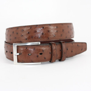 Torino Belts Genuine South African Ostrich Belt in Capuccino