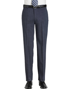 Calvin Klein Jerome X-Fit Fit Flat Front Pants - Navy Sharkskin