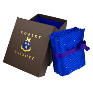 Robert Talbott Custom Estate Silk Tie in Sapphire Herringbone