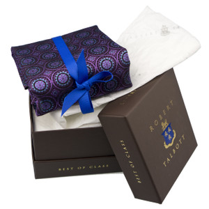 Robert Talbott Custom Best of Class Silk Tie in Violet & Azure Medallions