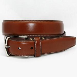 Torino Belts Burnished Tumbled Leather Belt in Saddle Tan