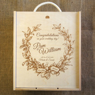 Wooden WeddingTriple Personalised Winebox - Congratulation on your wedding graphics