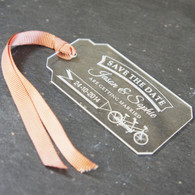 Acrylic Save the Date Luggage Tag with ribbon