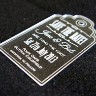 Clear  Acrylic laser engraved Save the Date Luggage Tag Style 02