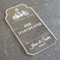 Personalised, engraved Acrylic Wedding Place Names - Tandem Luggage Tag