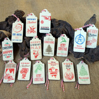 15 Wooden Printed Christmas Tags - ideal for your Christmas gifts
