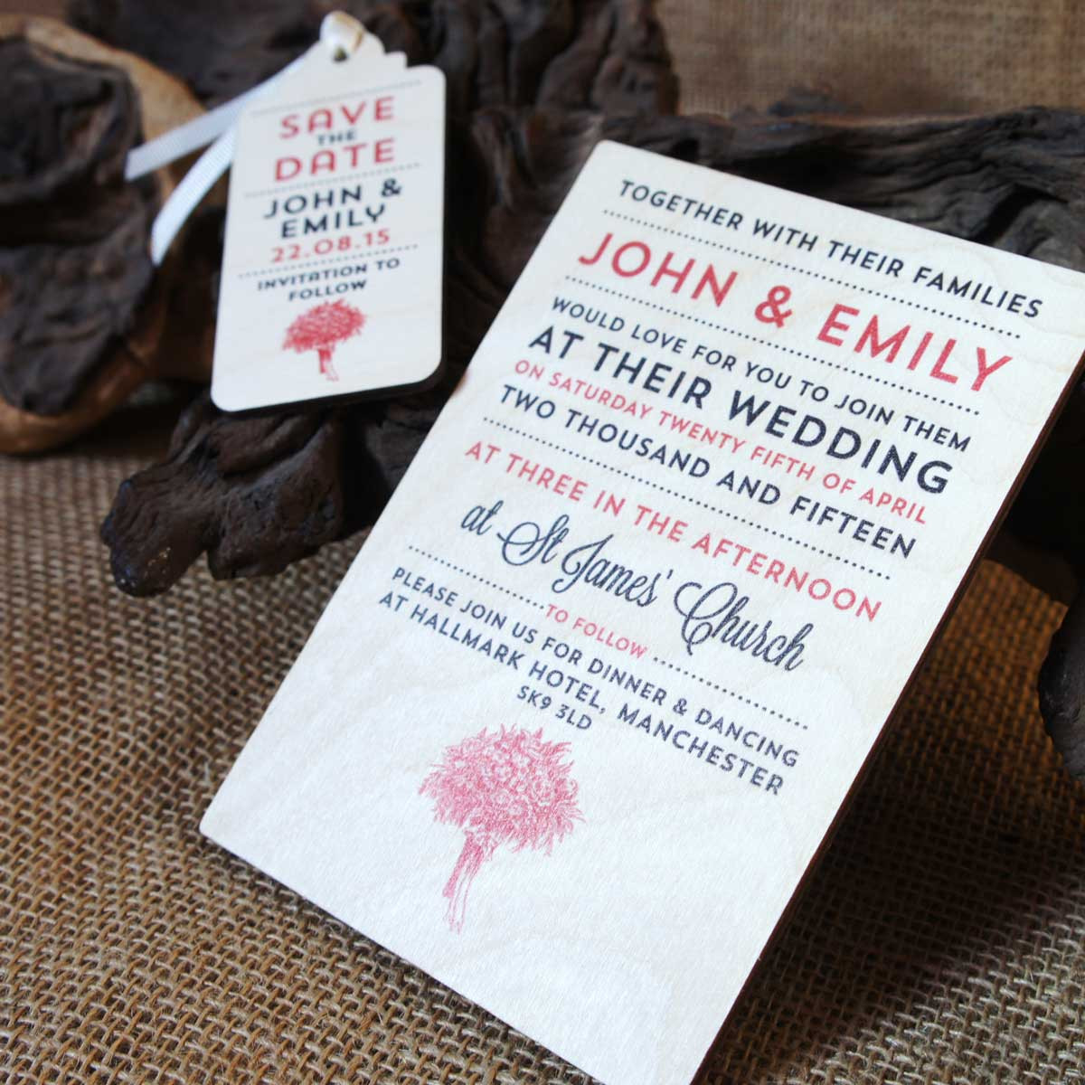 Camdeco: Wooden Printed Wedding Invitations